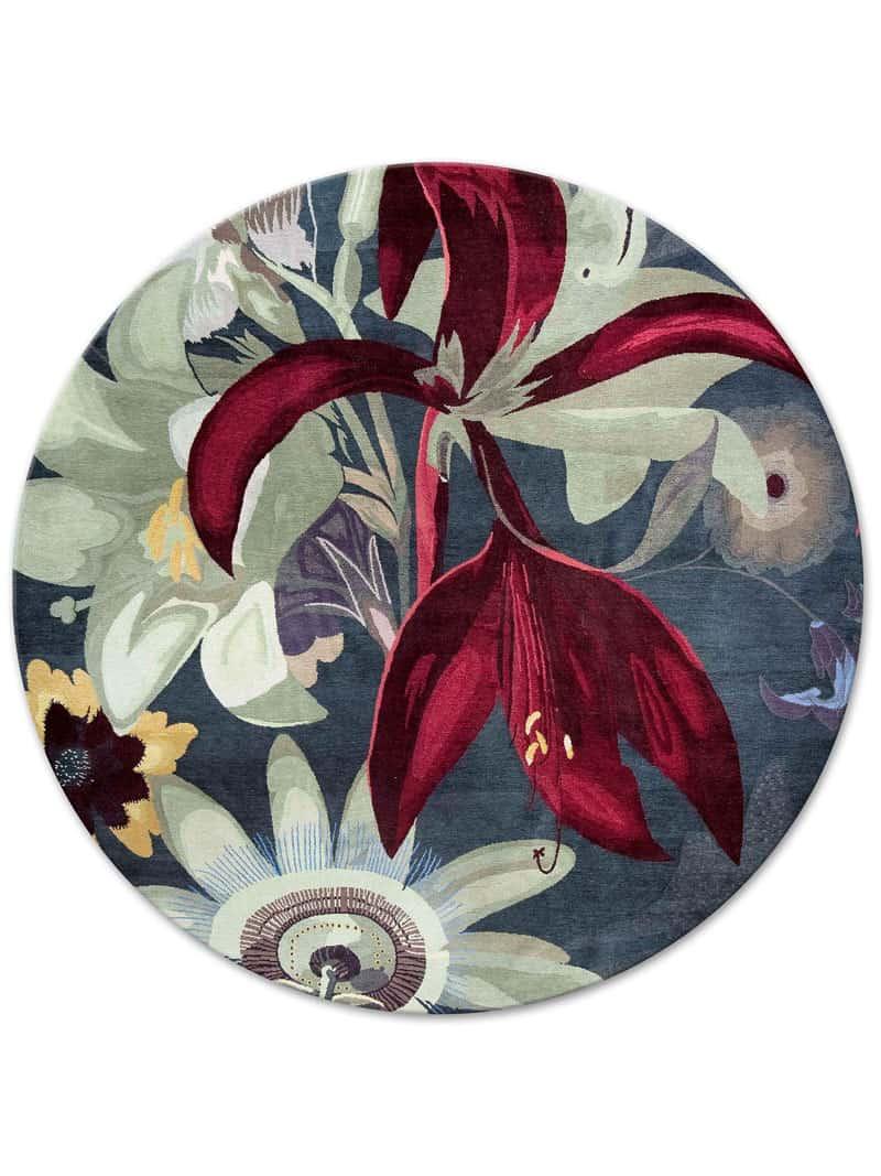 Eden Red Flower Round Original on Anthracite   RUG STAR